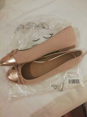 Nude / Gold flat ballerina size 8 wide fit Asos