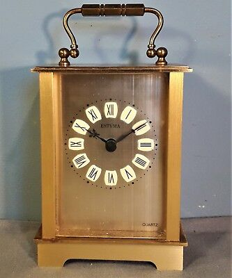 Vintage Estyma Brass Carriage Clock Quartz