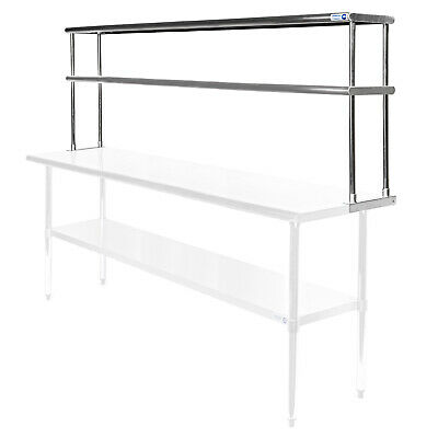 "Commercial Stainless Steel Kitchen Prep Table Wide Double Overshelf - 30"" x 72"""