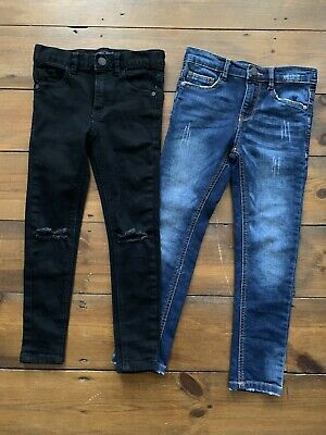 Boys NEXT Age 6 Years Jeans Skinny Fit x 2 Blue Black