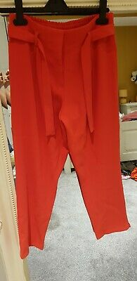 River Island Girls Coral Red  High Waist Cropped Trousers Aged 12 Years