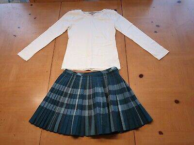 Burberry Designer Girls White Long Sleeve Top, Skirt Outfit Set Size 8 - 9 Years