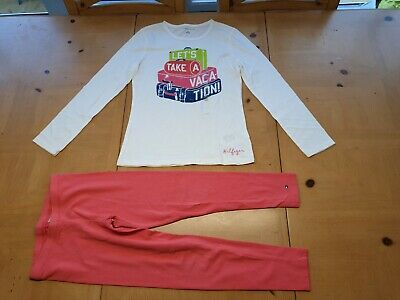 Tommy Hilfiger Designer Girl's Long Sleeve Top, Pink Leggins Outfit 8 - 9 Years