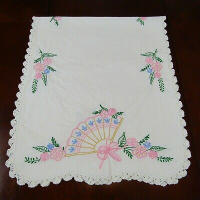 Vintage Hand Embroidered Table Runner Dresser Topper Pink Fans Flowers 38 x 16