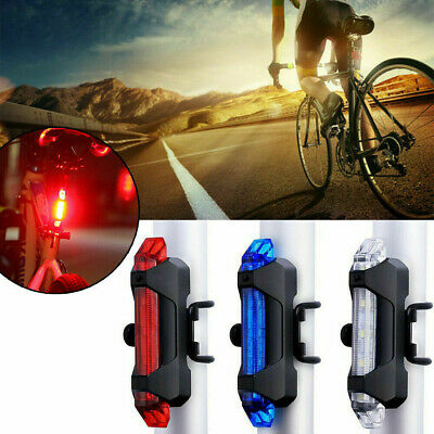USB Rechargeable 4 Modes 5 LED Bike Bicycle Cycling Front Rear Tail Light Lamp G
