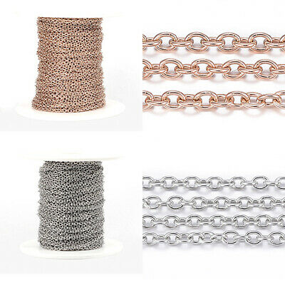 10m/roll Soldered Stainless Steel Cable Chains with Spool DIY Making 2.5x2x0.5mm