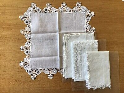 Vintage Ladies White Cotton Handkerchiefs With Crocheted Lace Edges - 4 Kinds.