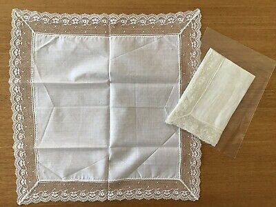 Vintage Ladies White Cotton Handkerchiefs With Antique Lace Edges - 2 Kinds.