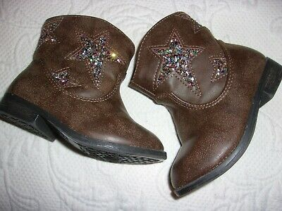 Girls Toddler Size 6 Brown Glitter Star  Boots Never Worn