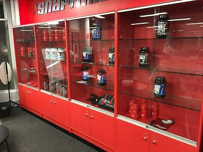 Retail Cabinets - Red with glass shelves. Very good condition.