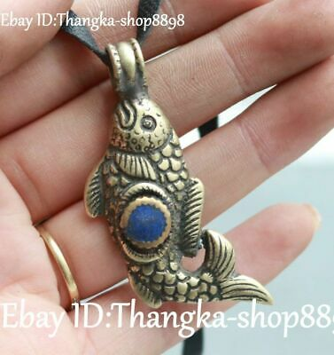 8CM Chinese Ancient Bronze Gem Fish Fishes Goldfish Necklace Pendant Plate Brand