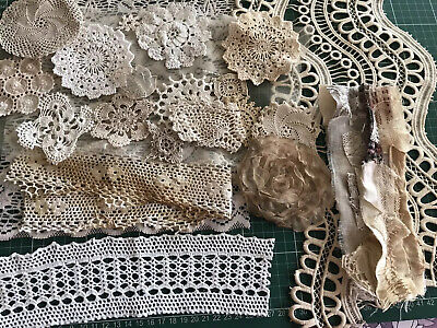 DIY Junk Journal Kit-Coffee & Tea Dyed Shabby Lace Fabric Snippet. Doilies Trims