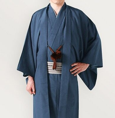 Japanese Men's Traditional Kimono HAORI Jacket Coat Blue from JAPAN
