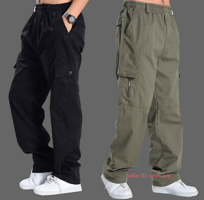 Mens Casual Loose Cotton Cargo Pant Combat Multi-pockets Work Trousers Hiking