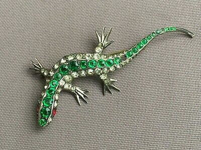 Vintage LIZARD, Gecko? BROOCH, 900 Sterling Silver, Rhinestones - As Found
