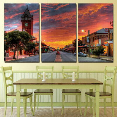 City Sunset 3 Panel Canvas Wall Art Modular Decorative  Brand New