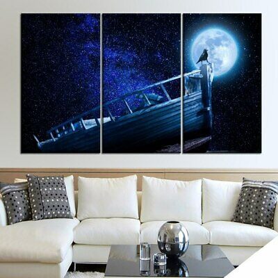 Moon Starry Sky 3 Panel Canvas Wall Art Modular Decorative  Brand New