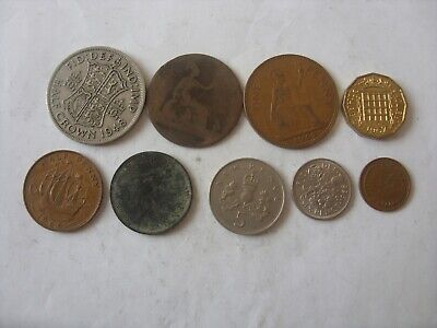 Lot Of 9 Old British Coins   1/2 Penny - Half Crown    18??- 1976