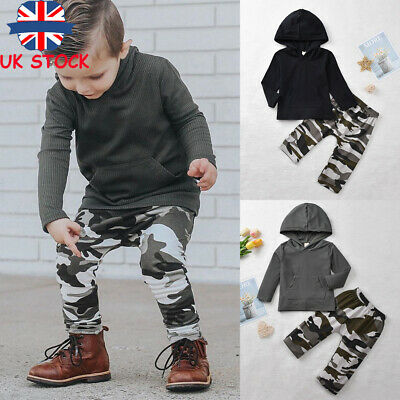 Toddler Kids Boys Hoodies Tops Camo Pant 2Pcs Sets Tracksuit Outfits Clothes UK