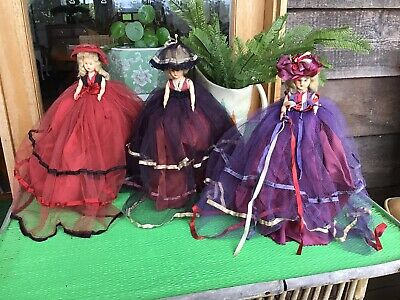 Three Vintage Dolls With Stands
