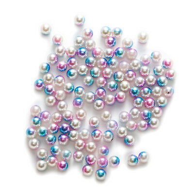 3 Color Gradient ABS Nonporous Pearl Imitation Spacer Beads Jewelry Making 4-6mm