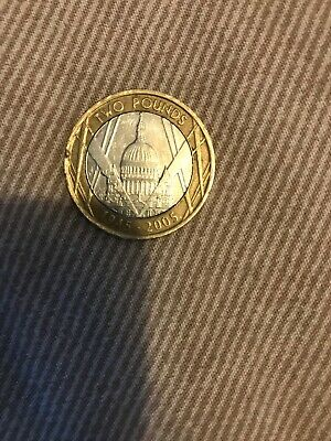 st pauls cathedral 2 pound coin, Minting Error Upside Down Writing- VERY RARE!!