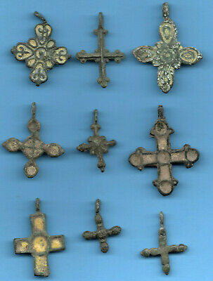 Lot of 9 Ancient Viking Enamel Bronze Cross Kiev Russia ca 1100 Byzantine 143