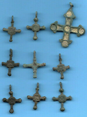 Lot of 9 Ancient Viking Enamel Bronze Cross Kiev Russia ca 1100 Byzantine 153