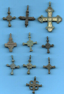 Lot of 10 Ancient Viking Enamel Bronze Cross Kiev Russia ca 1100 Byzantine 131