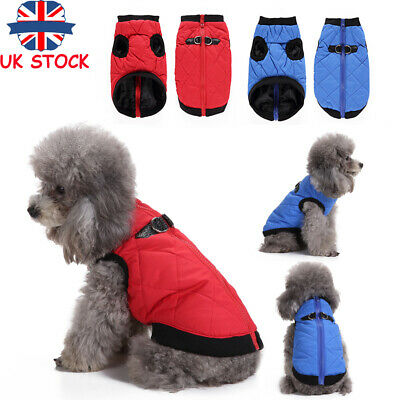 Waterproof Pet Dog Puppy Warm Clothes Winter Padded Coats Vest Jacket Apparel UK