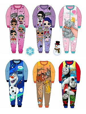 Girls Boys pyjamasFrozen Lol  1onesie all in one fleece  nightwear sleepsuit