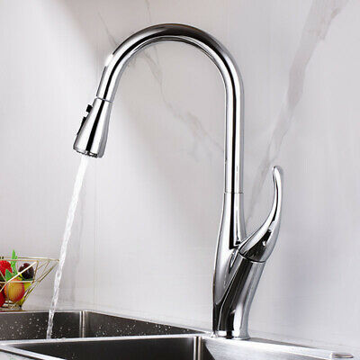 Chrome Pull Out Single Handle Kitchen Sink Faucet 1 Hole Sprayer Spout Mixer Tap