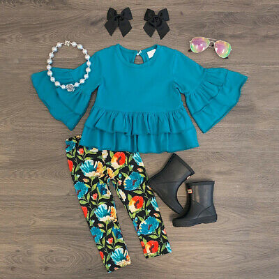 US Kids Baby Girl Clothes Flared Sleeve Tops Dress+Flower Leggings Pants Outfit