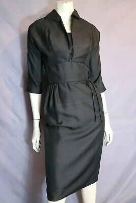 "Vintage 50s ORIGINAL  Black Shot Silk Wiggle Dress & Jacket Cocktail Suit B34"" S"