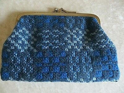 Vintage Real Welsh Wool Tapestry  Blue Purse 1970S