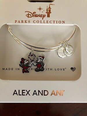 Disney Alex & Ani Mickey Minnie Candy Cane Heart 2019 Christmas Silver Bracelet