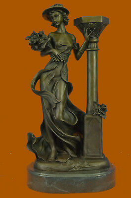 Victorian Style Captive Lady Holding Bouquet of Flowers Bronze Sculpture Decor