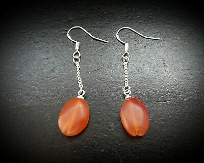 ANCIENT ROMAN EGYPTIAN CARNELIAN BEADS ON SILVER DROPLET EARRING 1st - 3rd A.D.