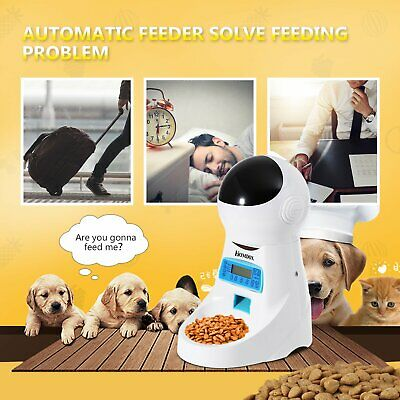 Homdox Automatic Cat Feeder Pet Food Dispenser for Cat Dog Auto Timed Cat Feeder