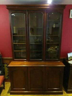 VICTORIAN MAHOGANY antique BOOKCASE CABINET glass fronted three door CIRCA 1850