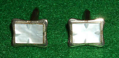 Vintage Rectangular Gilt Cufflinks  with engraved Pearlescent White Stone