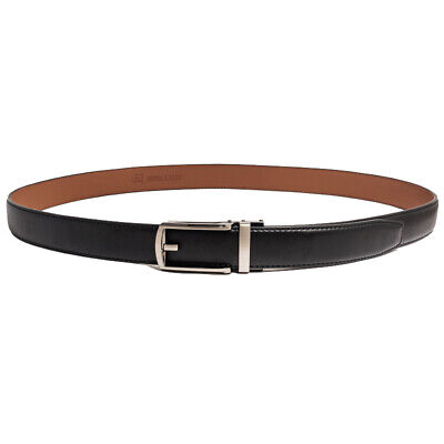 Men's dress genuine leather belt Automatic buckle with Ratchet wide1-3/16''