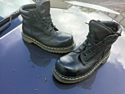 Dr Martens 2239 black leather boots UK 7 EU 41 steel toes Made in England