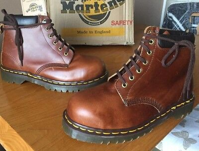 Vintage Dr Martens brown boots UK 7 EU 41 Made in England steel toes hiking
