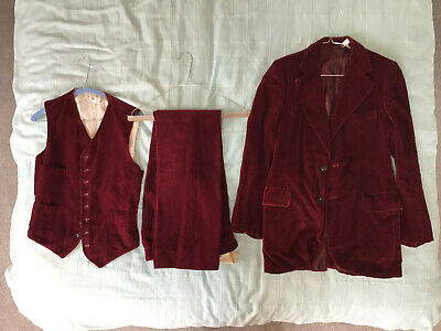 Vintage 1969 Brent & Collins Take6 Carnaby St 3 pc red velvet suit