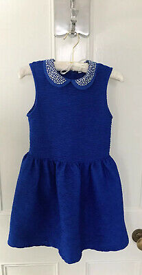 Girls M&S Dress With Stud Details In Royal Blue Age 7-8 Brand New LAST ONE