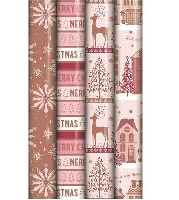 4 Rolls Of 2M Foiled Rose Gold Blush Pink Christmas Gift Wrapping Paper Script
