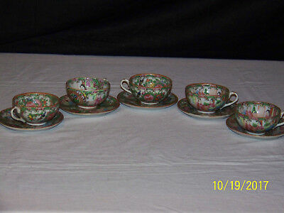 Antique Chinese Qing Dy Rose Medallion Tea Cups & Saucesr Set of 5