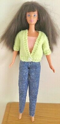 Beautiful Dark Haired Barbie Doll In Fab Jeans, Top And Very Cute Cardigan Vgc
