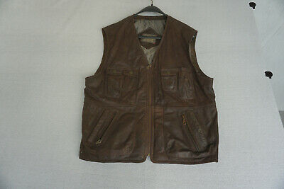 Itallo Men's Leather Vest Waistcoat Gr.52 / L XL Braun with Many Pockets Top